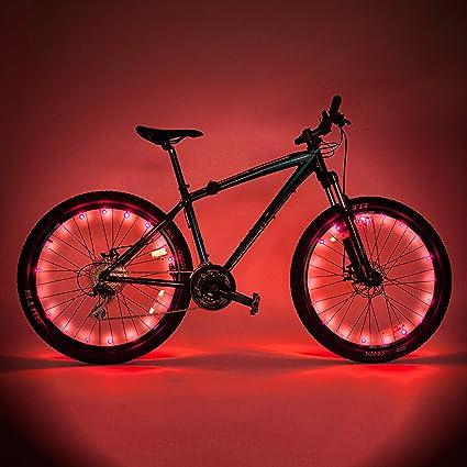 Luz LED para rueda de bicicleta, fácil de montar, set de 2 unidades,