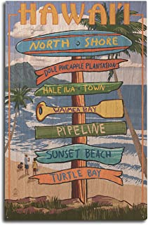 product image for Lantern Press North Shore, Oahu, Hawaii - Destinations Sign (10x15 Wood Wall Sign, Wall Decor Ready to Hang)