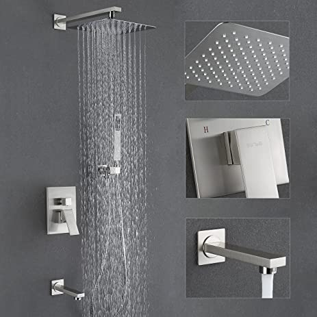 Exceptional Esnbia Shower System With Tub Spout And 10u201d Rain Shower Head Shower Faucet  Set Brushed