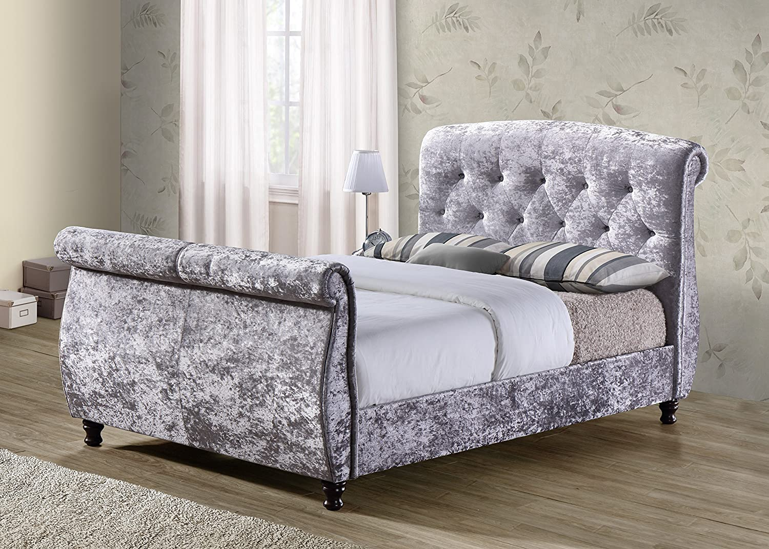 grey upholstered sleigh bed. Birlea Furniture Toulouse Sleigh Bed, Crushed Velvet, Steel, King Size: Amazon.co.uk: Kitchen \u0026 Home Grey Upholstered Bed