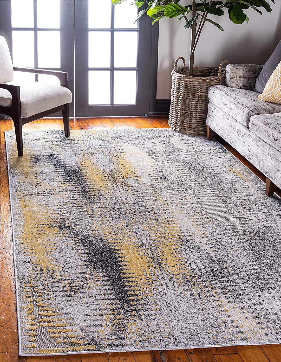 Unique Loom Outdoor Modern Collection Carved Distressed Transitional Indoor and Outdoor Flatweave Ivory Area Rug (8' 0 x 10' 0)