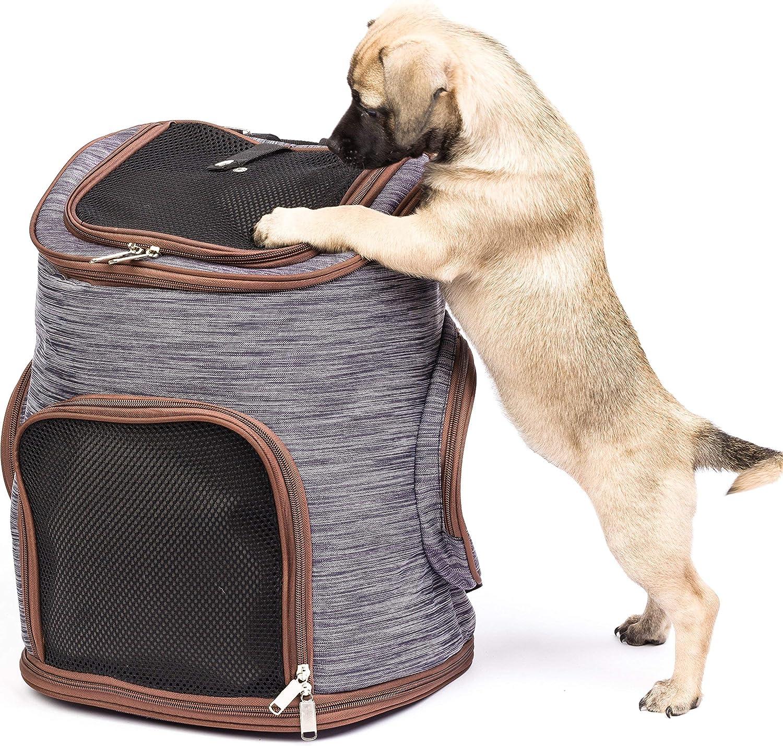 Migosset Bolsa para Mascotas - Mochila Transporte para Perros y Gatos - Transportines de Viaje Resistentes con Ventana de Malla, Cierre, Correas Cintura - Fondo Extraíble para Limpieza - 30x24x41cm