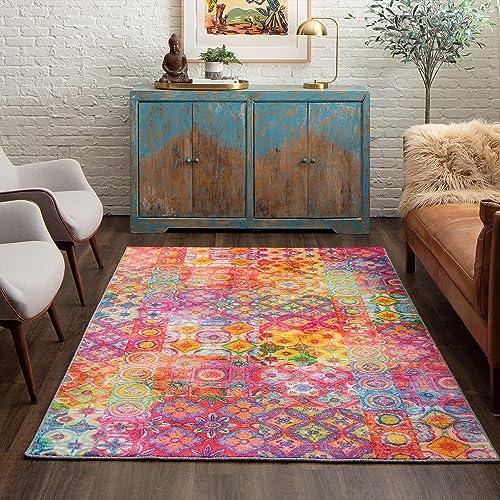 Mohawk Home Prismatic Coyle Floral Checkerboard Precision Printed Area Rug