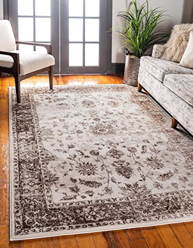 Unique Loom Rushmore Collection Traditional White Tone-on-Tone Cream Area Rug 10' 0 x 13' 0