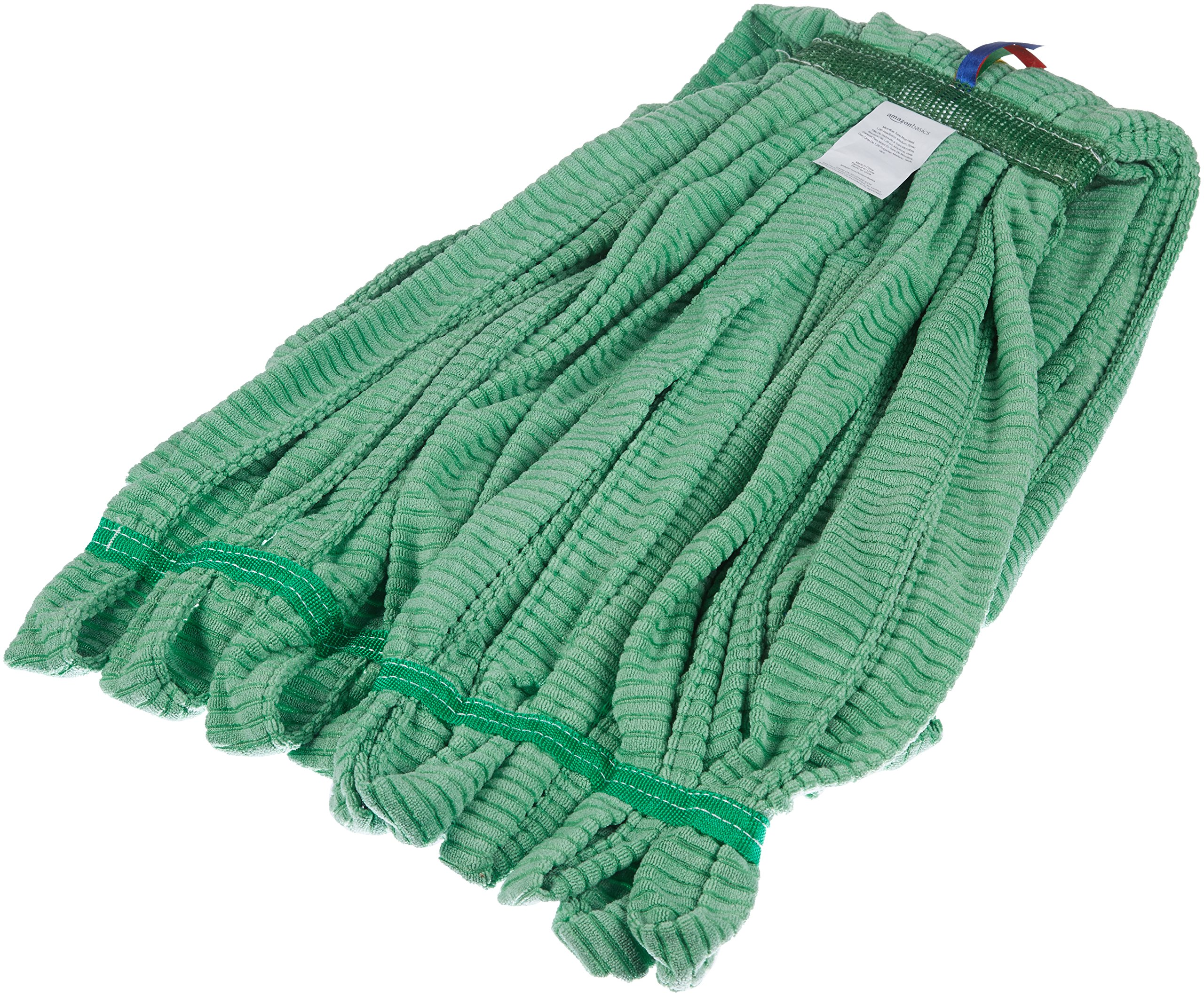 AmazonBasics Microfiber Tube Mop Head, 1.25-Inch Headband, Medium, Green - 6-Pack