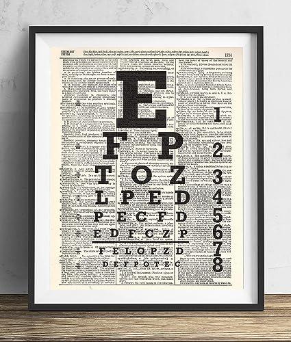 Amazon Com Eye Chart Upcycled Dictionary Art Print 8x10 Handmade