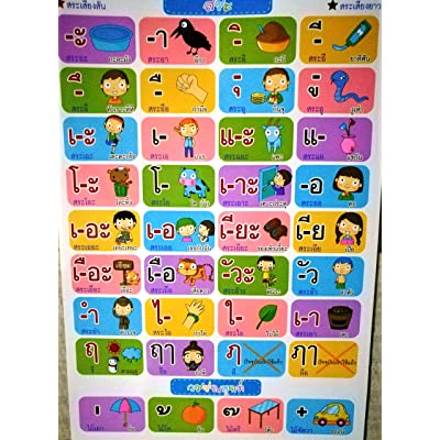 Thai Language Chart, thai Language Learning, thai Language Beginners, Kids, Colorful, Travel, Talking, Thailand, Easy to Learn, Alphabets, Vowels, Numbers, Asia : Baby