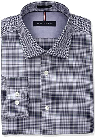 a2623f84 Tommy Hilfiger Men's Non Iron Slim Fit Plaid Spread Collar Dress Shirt at  Amazon Men's Clothing store: