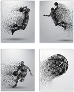 Summit Designs Basketball Wall Art Prints - Particle Silhouette – Set of 4 (8x10) Unframed Poster Photos - Bedroom - Man Cave Decor