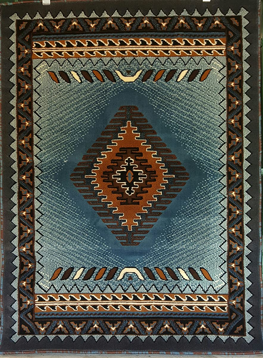 South West Native American Area Rug Blue & Brown Design D143 (5 feet 2inches X7 feet)