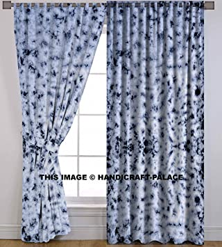 Indian Cotton Curtain Window Door Cover Hanging Drape Portiere Shibori Tie Dye Handmade Curtains Bohemian By
