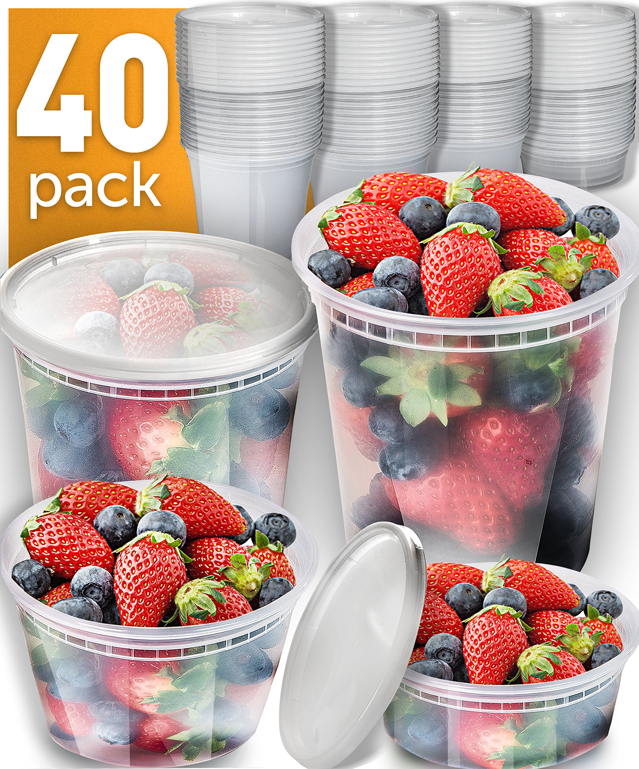 [40 Pack] Plastic Containers With Lids Set - Freezer Containers Deli Containers With Lids - Meal Prep Containers for Food Storage Containers - Plastic Food Containers by Prep Naturals [Mixed Sizes]