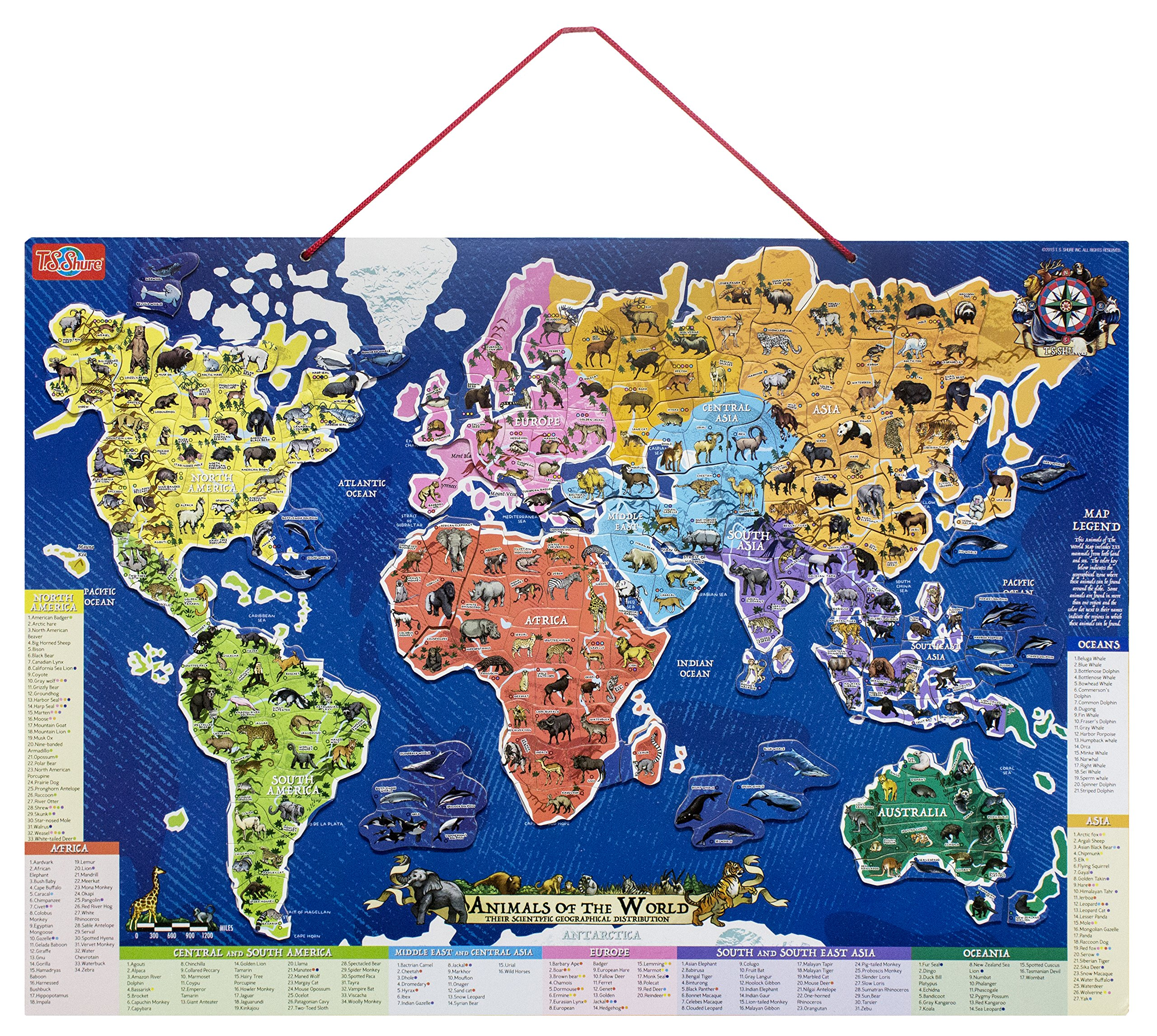 T.S. Shure Animals of the World Wooden Magnetic Map Puzzle by T.S. Shure (Image #2)