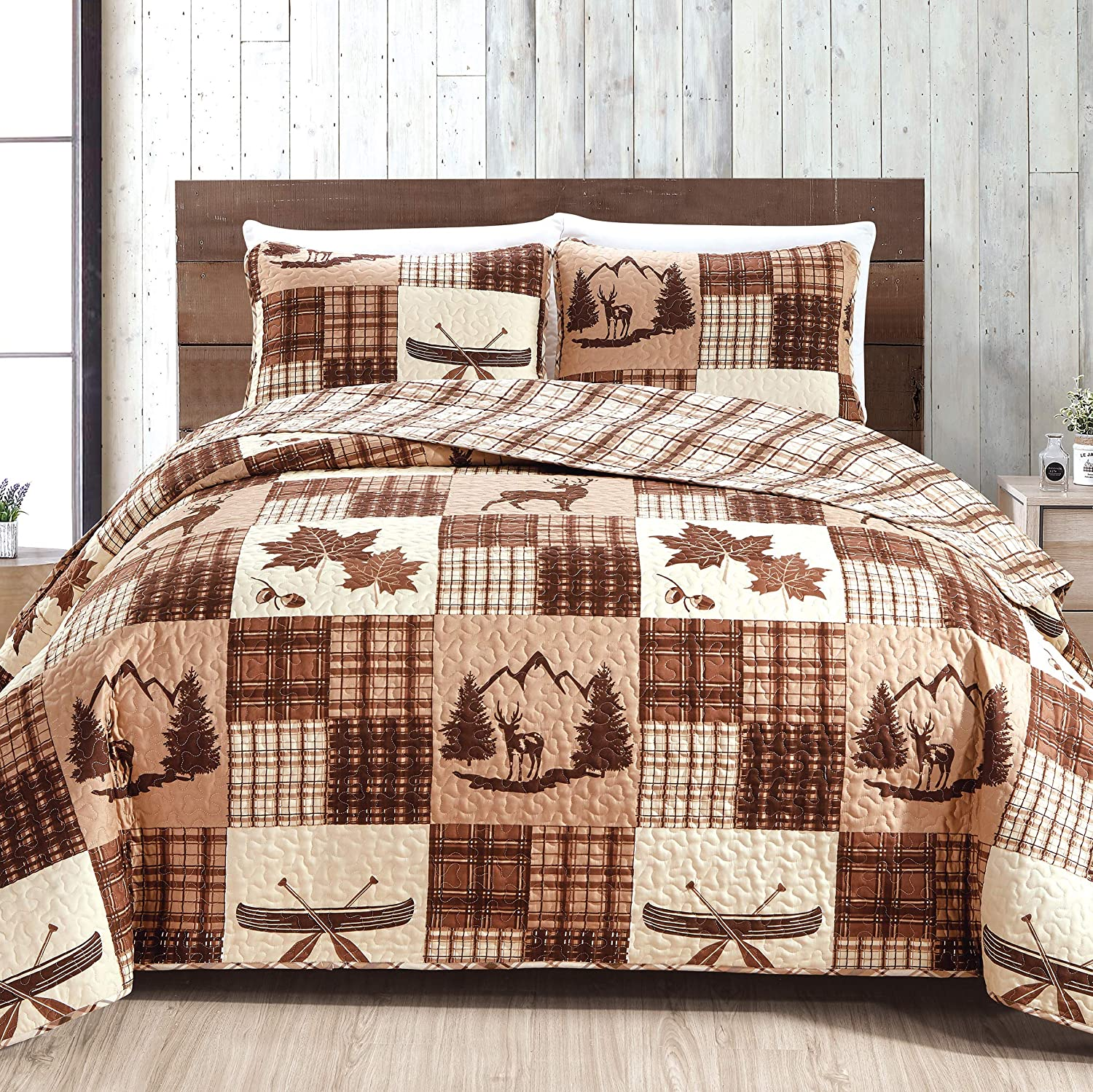 Great Bay Home Lodge Bedspread King Size Quilt with 2 Shams. Cabin 3-Piece Reversible All Season Quilt Set. Rustic Quilt Coverlet Bed Set. Redwood Collection.