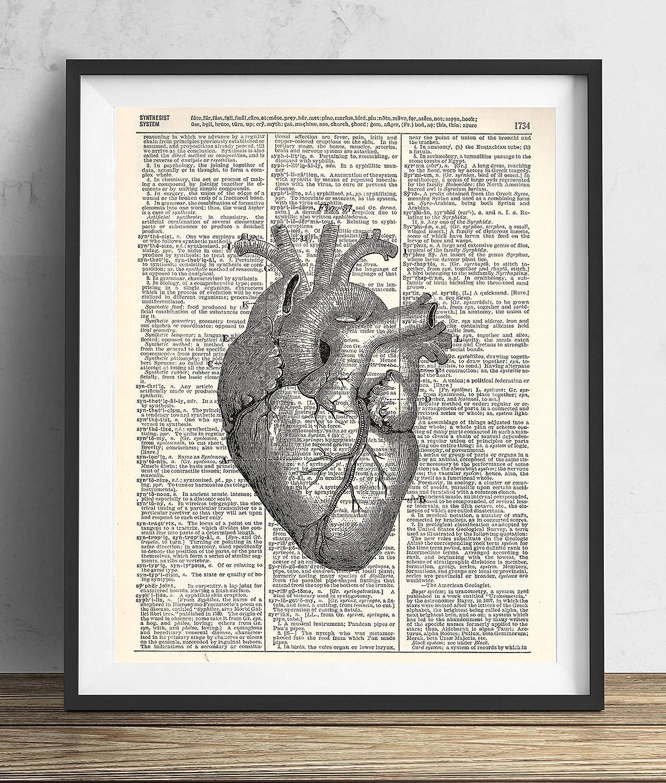 Amazon Anatomical Heart Vintage Upcycled Dictionary Art Print