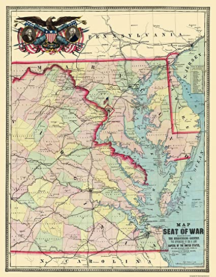 Amazoncom Civil War Map Eastern Us Approaches Military Posts - Map-of-the-us-in-1861