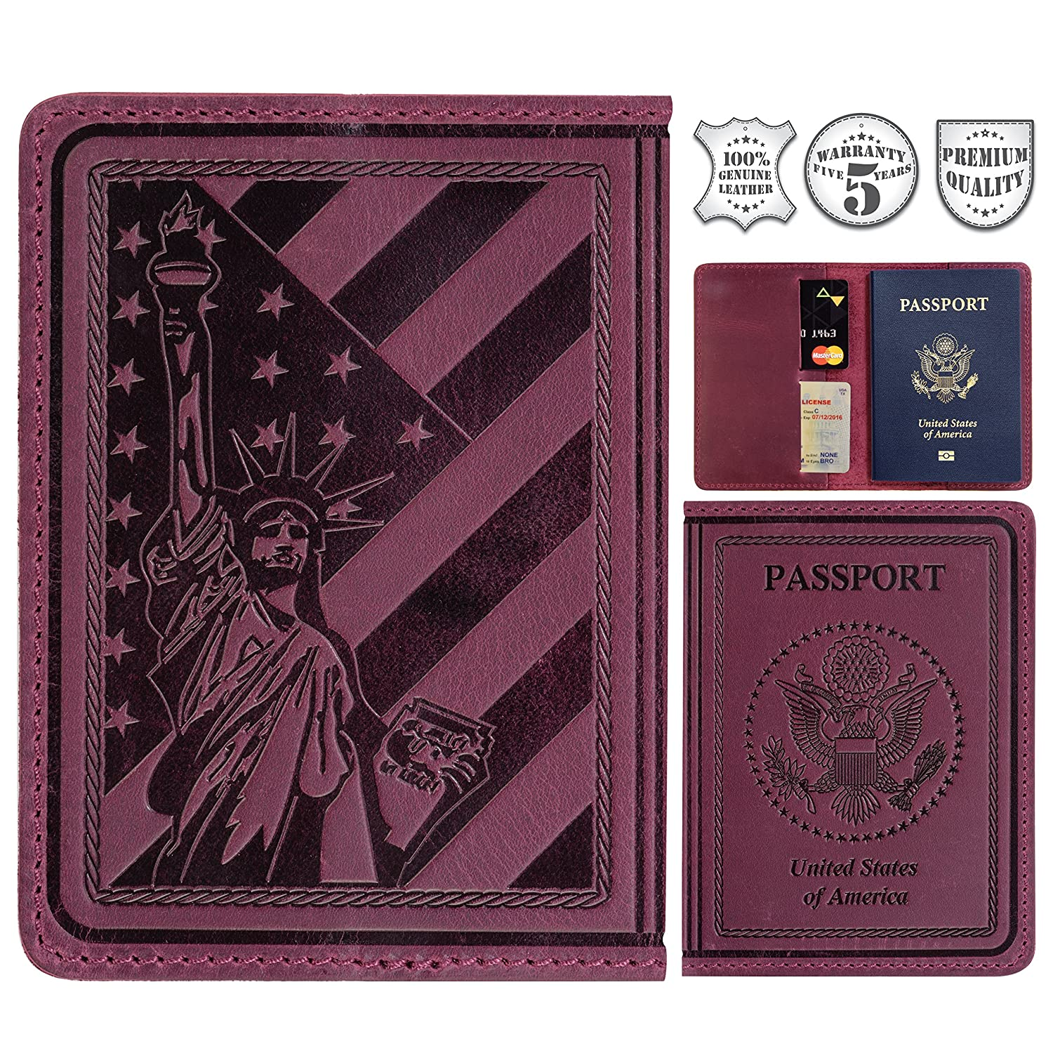 f631373a537c Tossy Wear - Leather Passport Holder for Men and Women Cover ID Card  Protector - US Travel Wallet Case Purple Color
