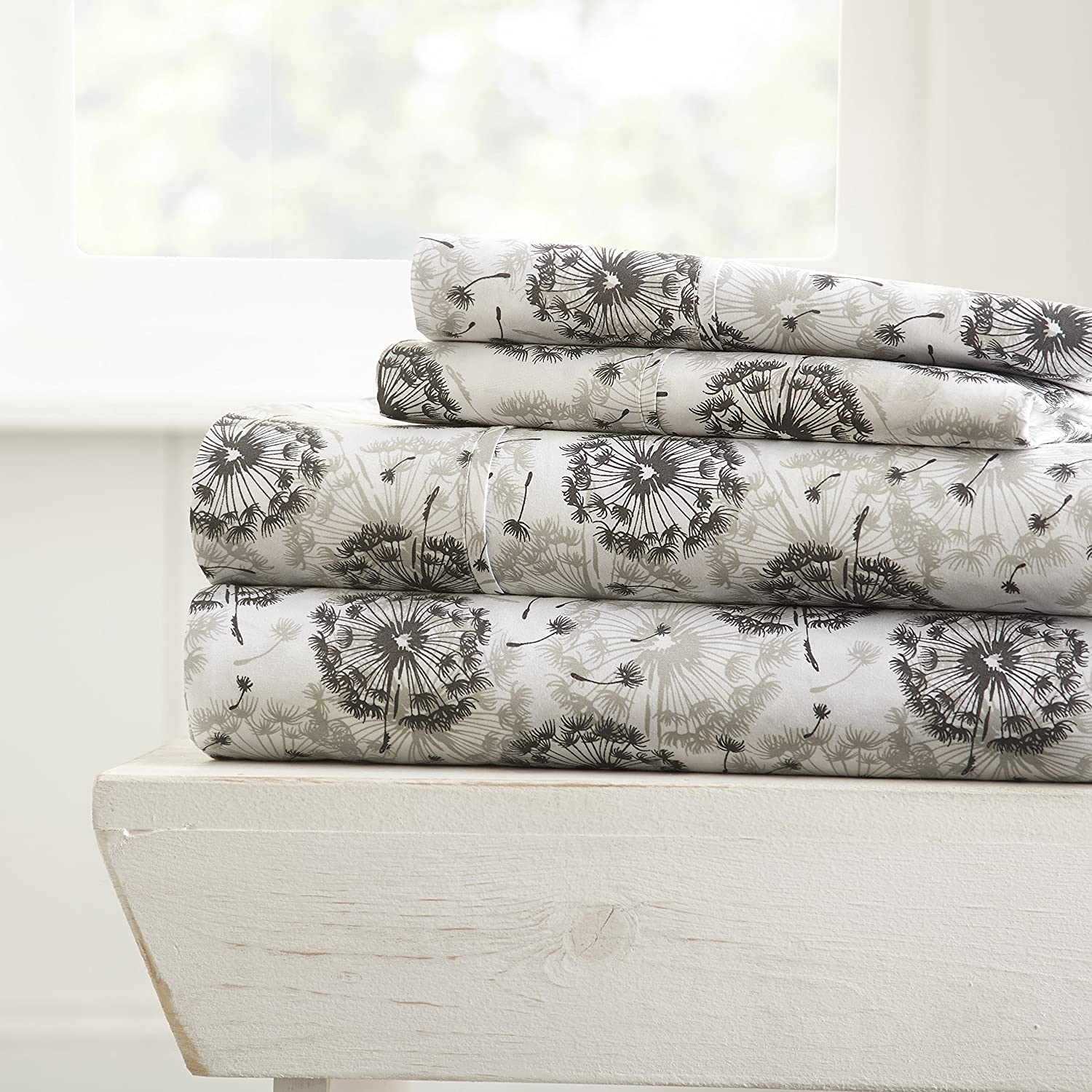 Simply Soft 4 Piece Sheet Set Make A Wish Patterned, California King, Light Gray
