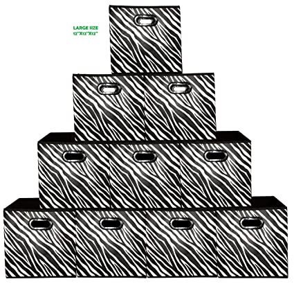 Amazoncom 10 Pack Zebra Pattern Large Storage Bins Containers