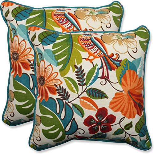 Pillow Perfect Outdoor Indoor Lensing Jungle Throw Pillows, 18.5 x 18.5 , Off-White, 2 Pack