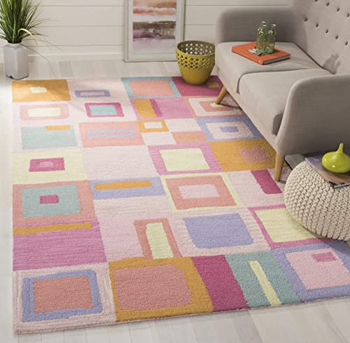 Safavieh Safavieh Kids Collection SFK317A Handmade Pink and Multi Cotton Square Area Rug 7' Square