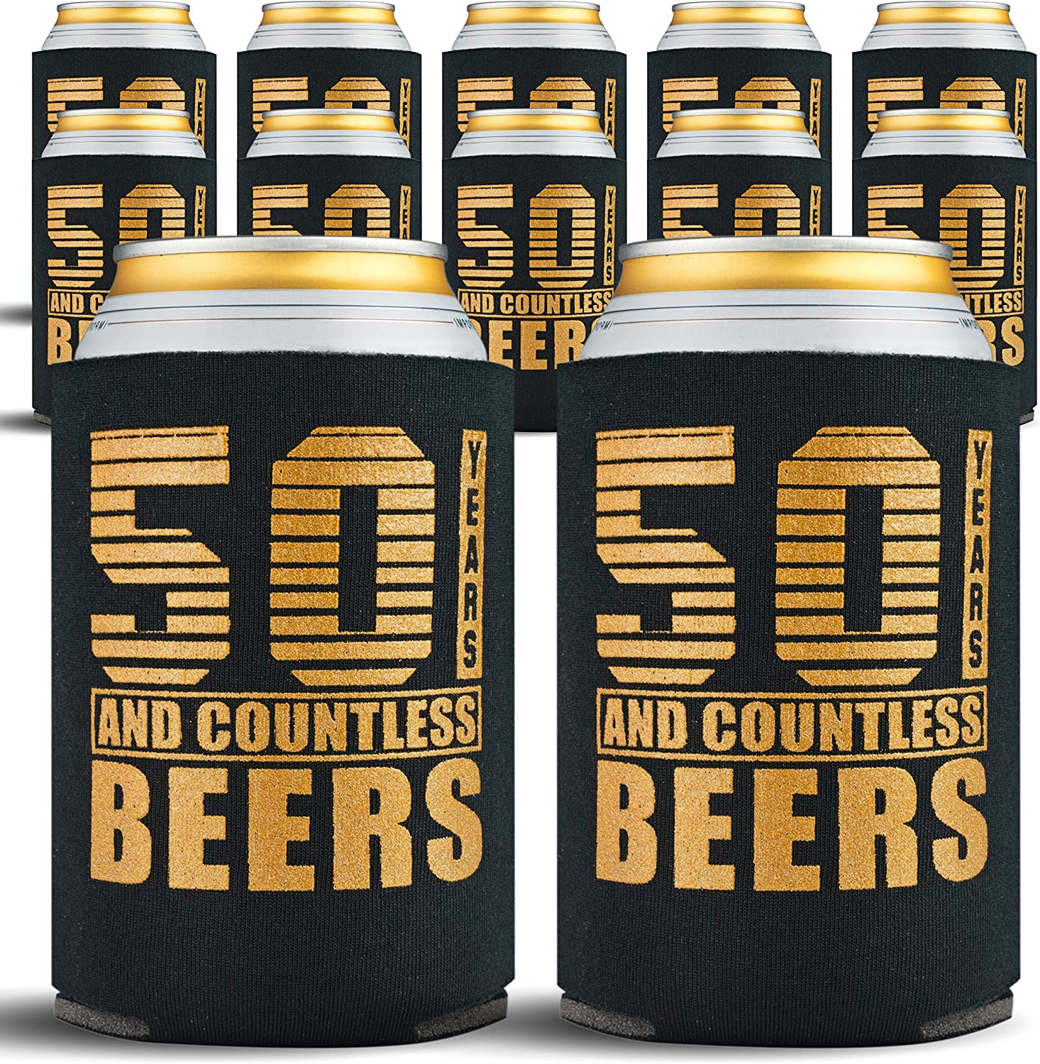Amazon Com 50th Birthday Decorations Beverage Can Coolers 50th Birthday Gift Ideas Beer Sleeve Insulated Drink Holder Party Favors 50 Year Old Birthday Gifts For Men Women 12 Pack