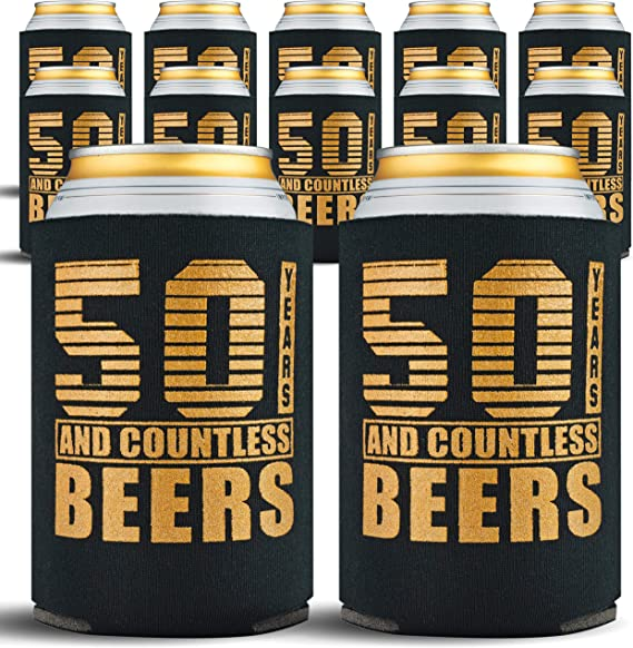 Happy 50th Birthday Party Decorations for Men, Insulated Can Coolers as Dad's Birthday Decorations and Party Favors, Beer Sleeves 50s Gifts for Men