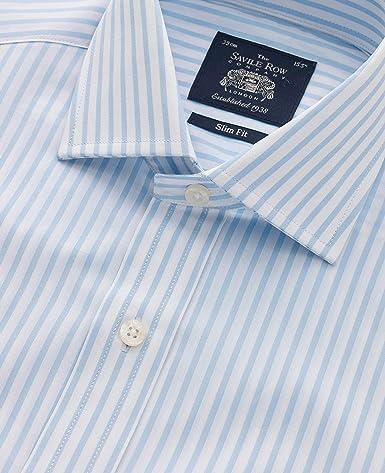 Amazon.com: Savile Row - Camisa para hombre, diseño de rayas ...