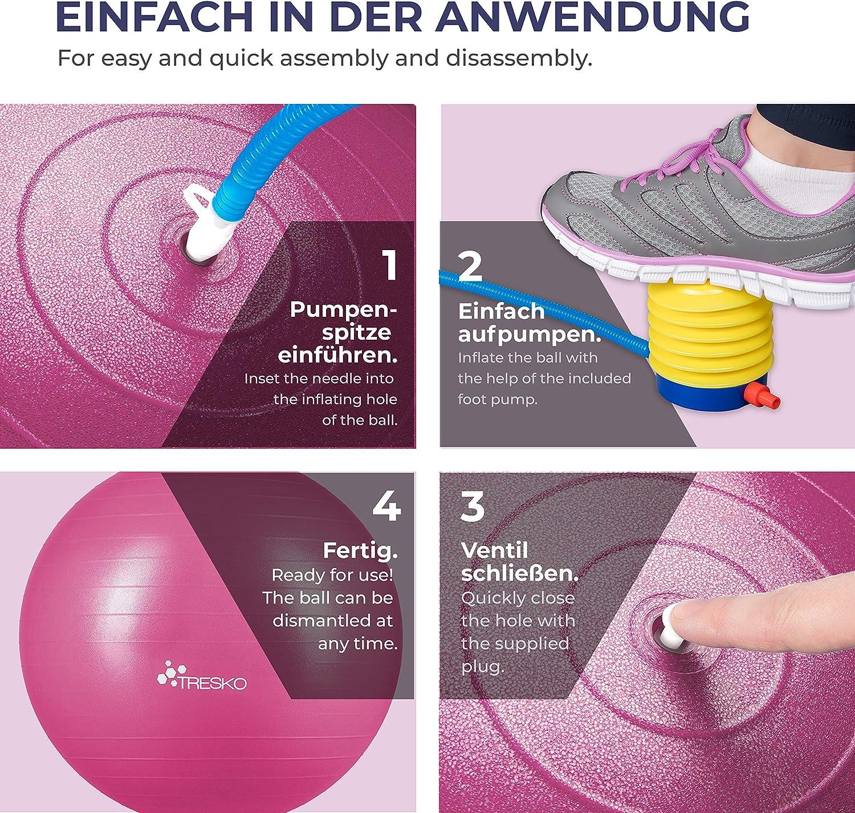 con Bomba de Aire Balon de Ejercicio para Fitness Bola de Yoga Pilates y Ejercicio 300 kg TRESKO/® Pelota de Gimnasia Anti-Reventones Bal/ón para Sentarse