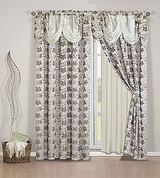 Amazon Elegant Home Beautiful Beige Window Embroidery Curtain
