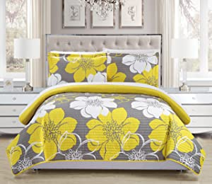 Chic Home 3 Piece Woodside Abstract Large Scale Floral Printed with 2 Shams Quilt Set, Queen, Yellow
