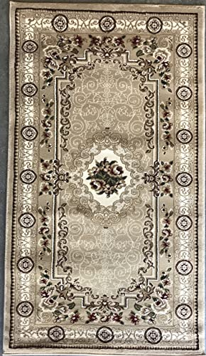 Traditional Door Mat 500,000 Point Area Rug Beige Burgundy Green Ivory Design 403 32 Inch X 56 Inch