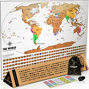 Landmass - Scratch Off Map Of The World - Premium World Map Poster with Flags - Deluxe Travel Tracker Print - Wall Art - Home Office Decor - Perfect Gift For Travelers - 17 x 24 inches