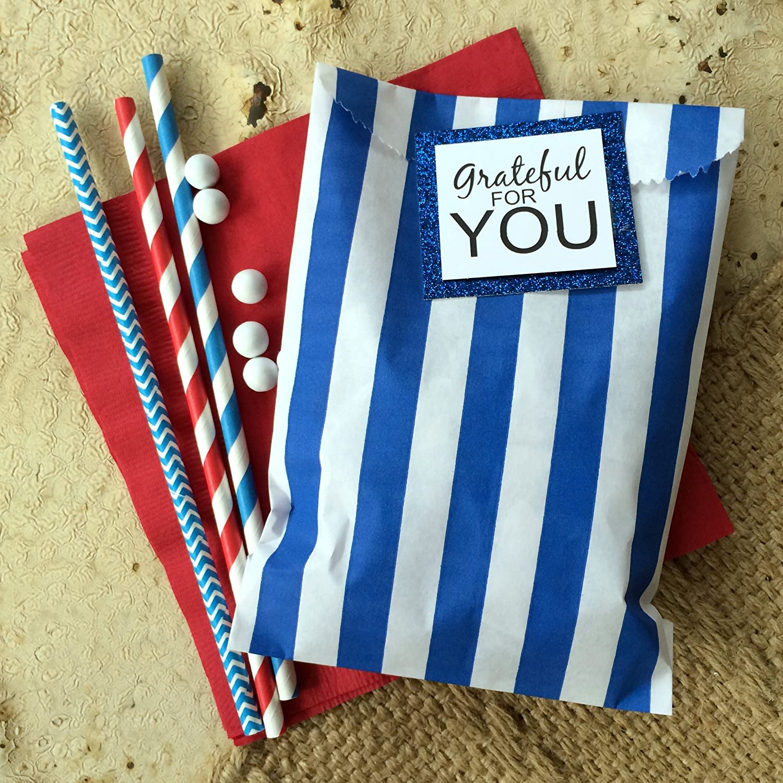 48 Pack Blue Lilac White x 7.5 Inches Chevron Stripe Polka Dot Favor Bags 5.5 Under The Sea Mermaid Theme Paper Treat Sacks