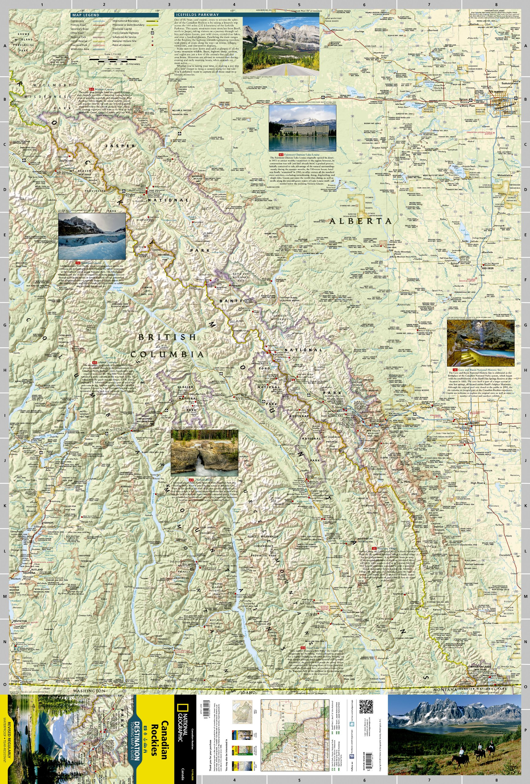 Canadian Rockies Destination Map 1:710,000 National Geographic ... on