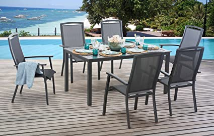 Surprising Amazon Com Sunjoy 7 Piece Sierra Sling Dining Set Large Download Free Architecture Designs Intelgarnamadebymaigaardcom
