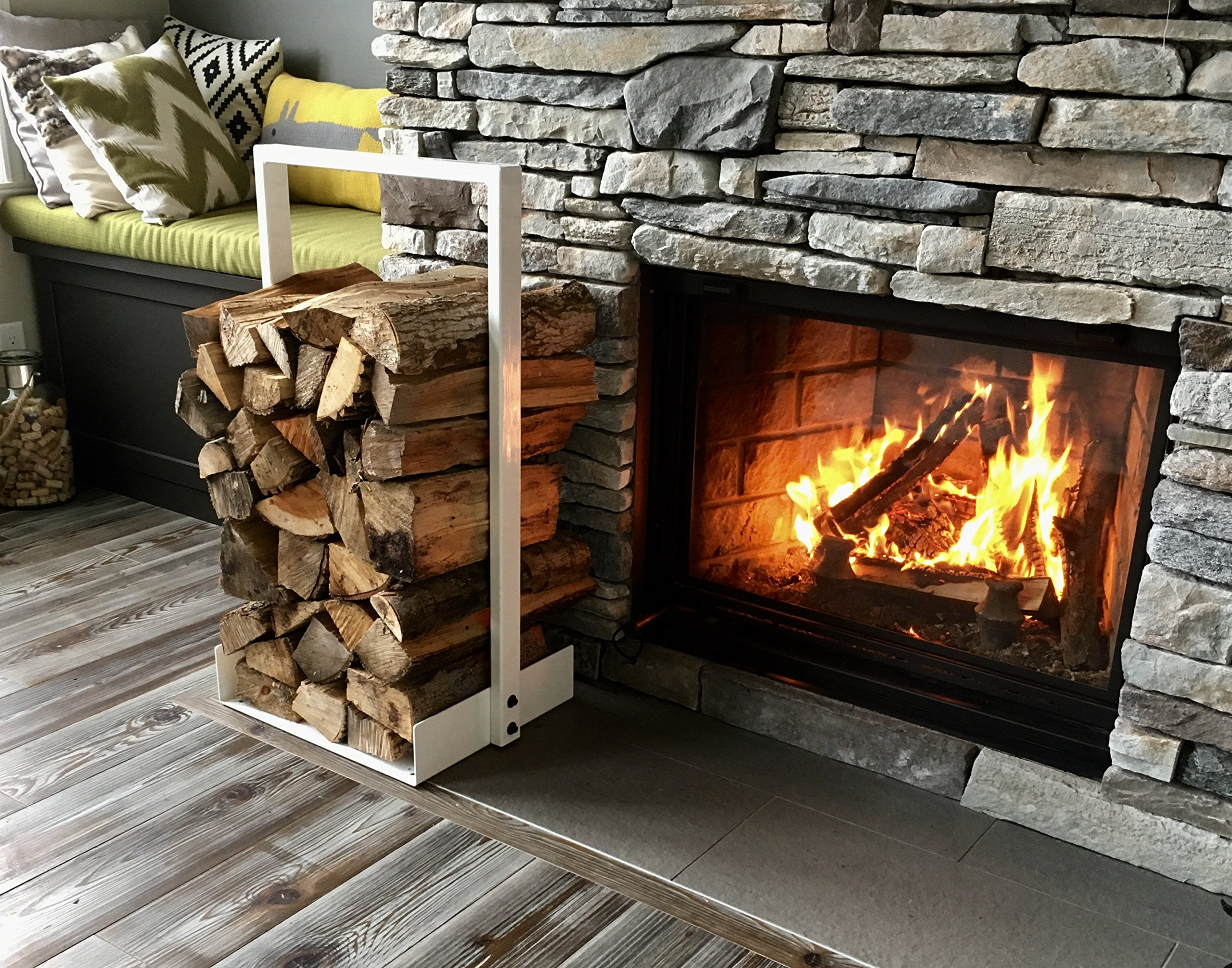 Contemporary Steel Firewoods log rack Mat Black finish (White) Hand Made in North America