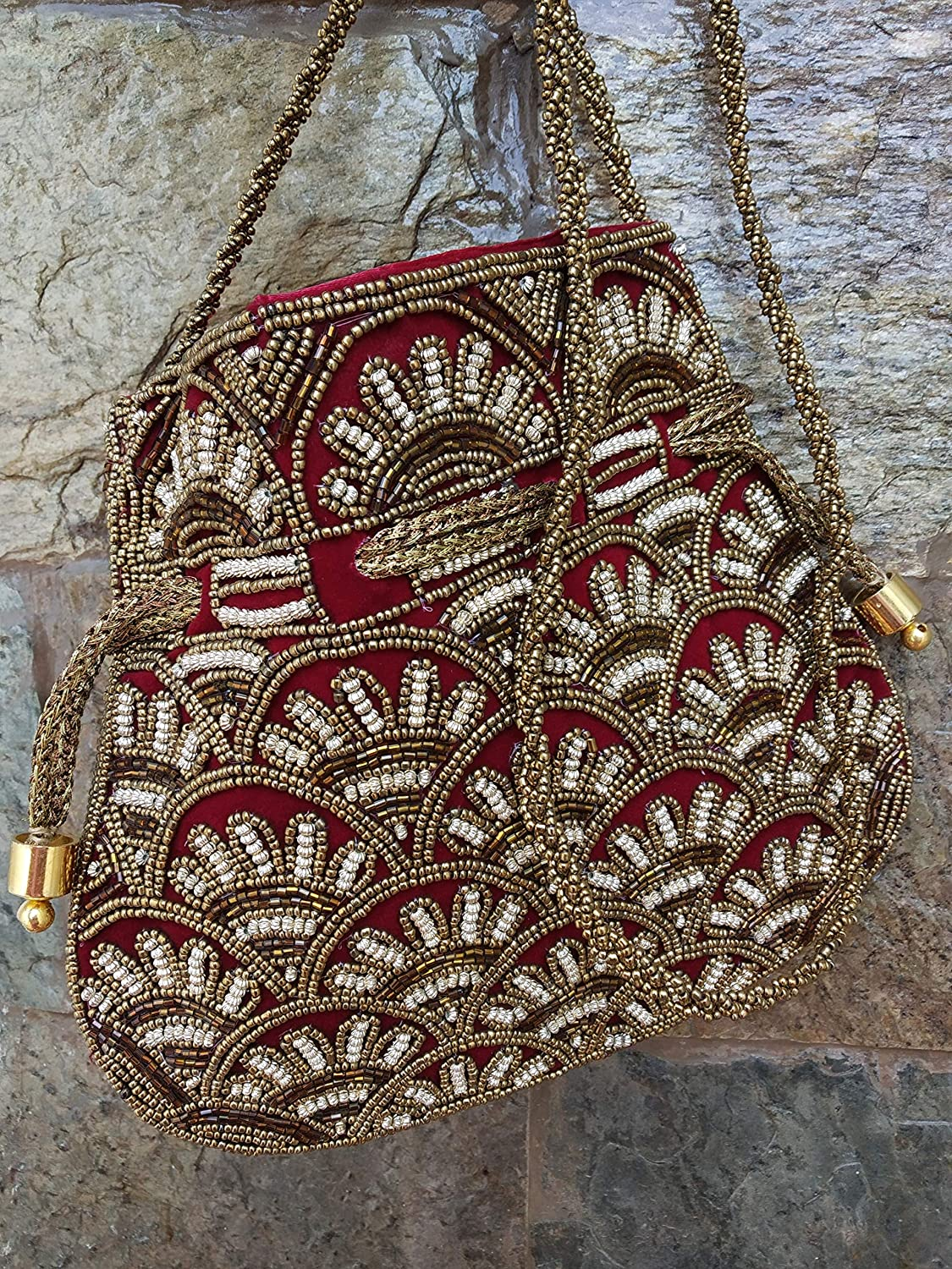 Artcraving Womens Handmade Embroidered Potli Bag/Pouch/Handbag - Drawstring Purse with Party Clutch and Wooden Beads for Weddings, Special Occasions (Red)