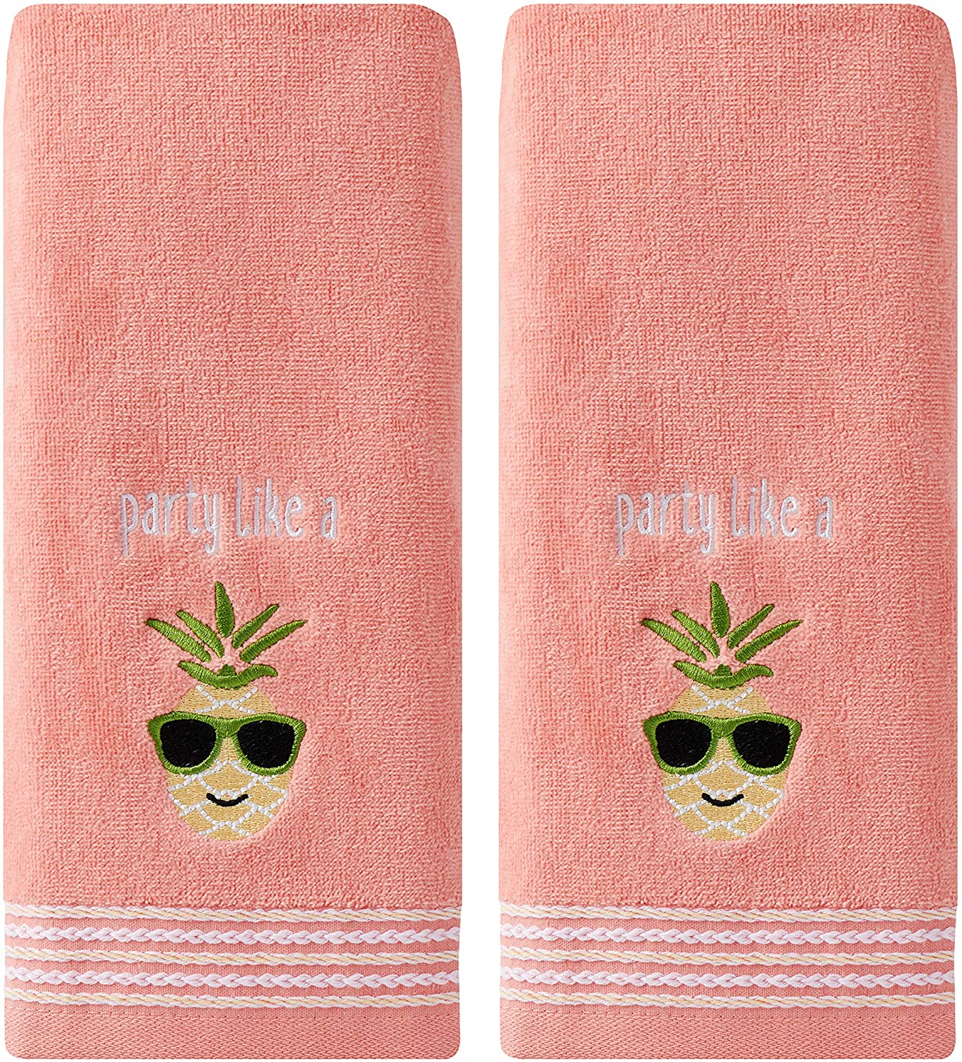 SKL Home by Saturday Knight Ltd. Party Pineapple 2 Pc Hand Towel Set, Coral Pink