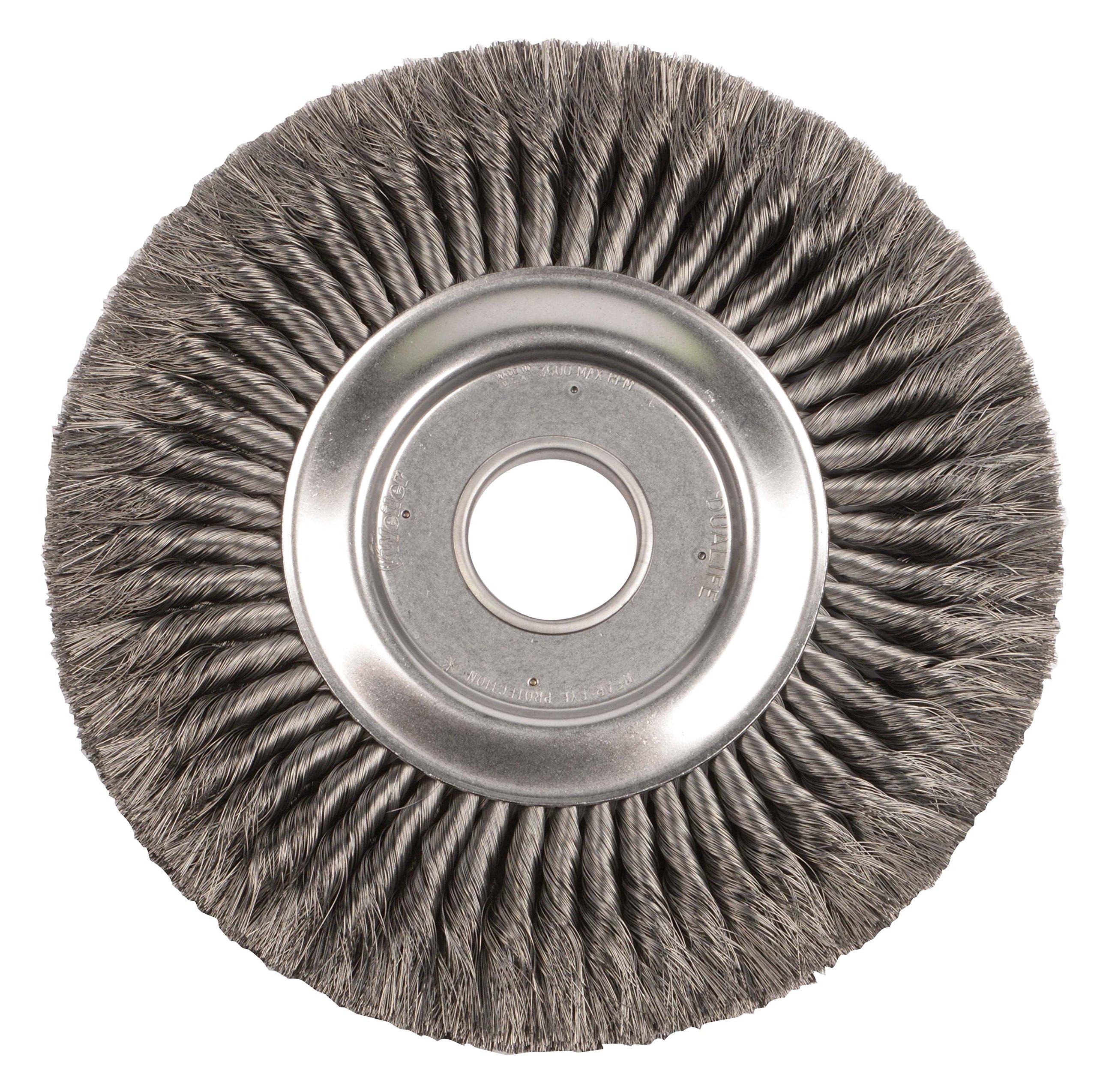 Weiler 9510 12'' Standard Twist Knot Wire Wheel, 0.118'' Steel Fill, 2'' Arbor Hole