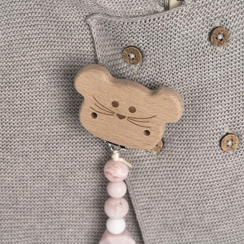 senza BPA motivo: Little Chums L/ÄSSIG Catenella per ciuccio in silicone e legno