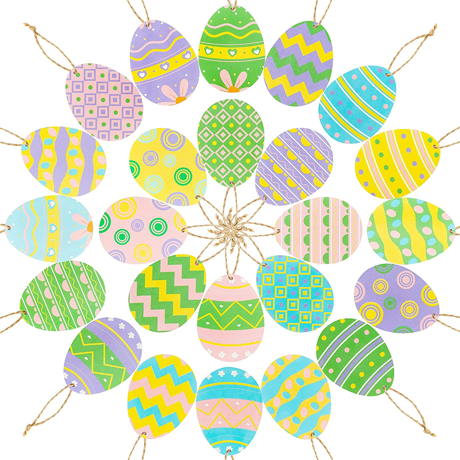 Easter Party Favor Supplies WATINC 25 Pack Easter Egg Wooden Ornaments Egg Shaped Cutouts Tree Pendant Classic Styles of Easter Egg Hanging Wooden Pendants Egg Hunt Activity Party Hang Tags Decor