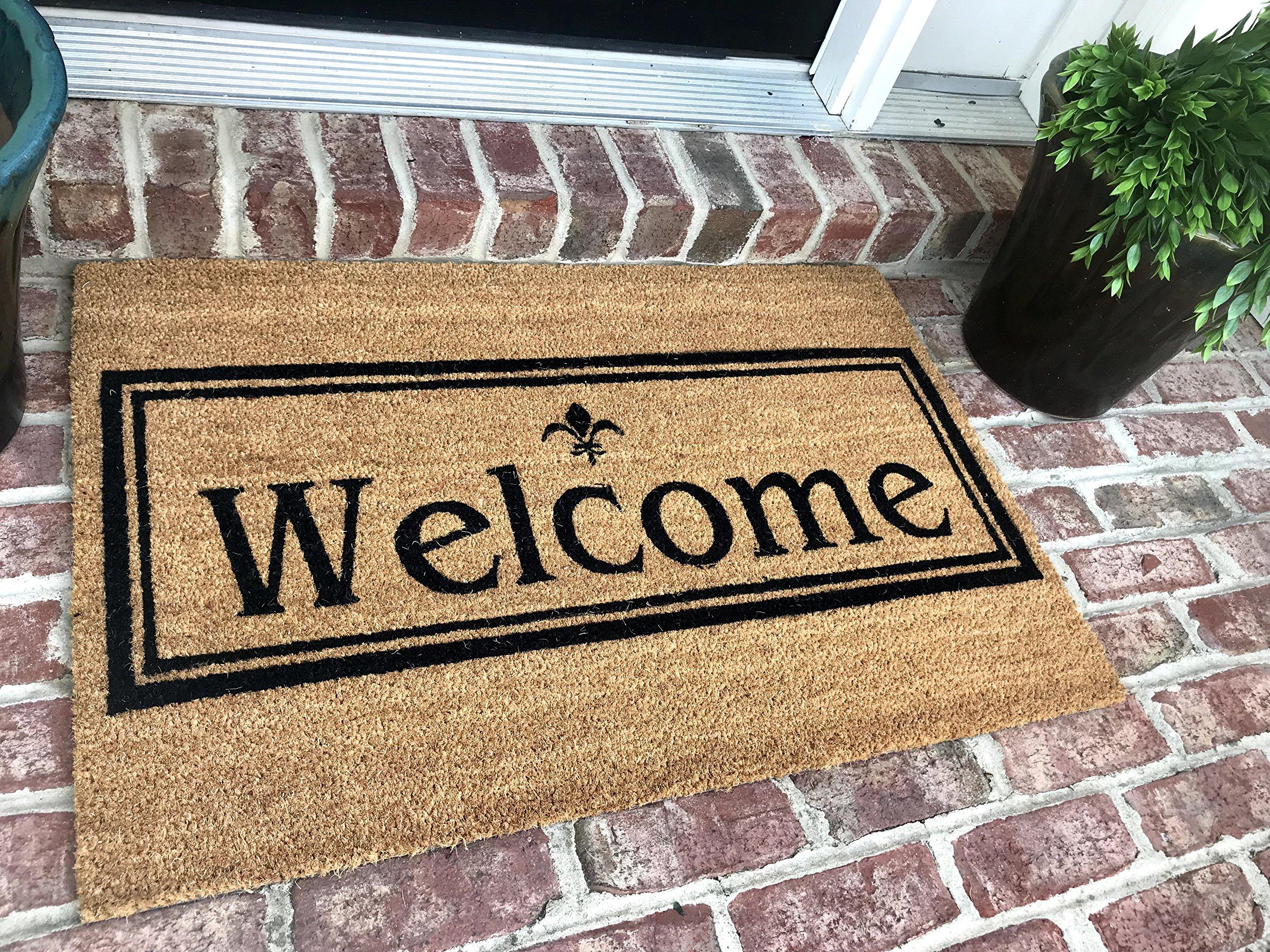 Tar Heel MarketPlace Mats New Natural Coir Non Slip Welcome Floor Entrance Door Mat with FREE rubber mat $20 Value (24 X 48)
