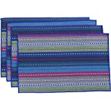 """WOOD MEETS COLOR Cotton Table Placemats Woven Braided Ribbed Washable Table Mats Set of 4, 12"""" x 18"""" (Blue)"""