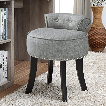 Amazon.com: Taylor Grey Linen Vanity Stool - Nailhead Trim | Roll ...