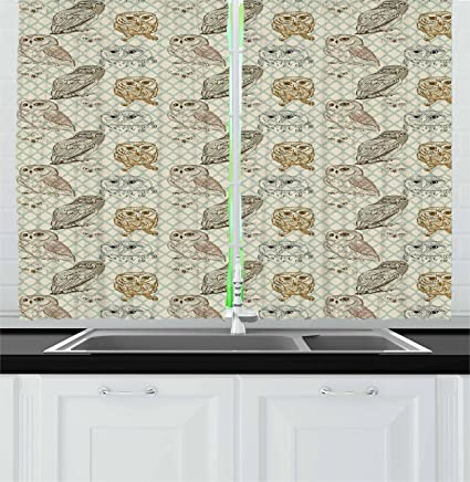 Ambesonne Owl Kitchen Curtains, Cool Looking Owls Different Shapes And  Sizes Drawing Style Sketch Pattern