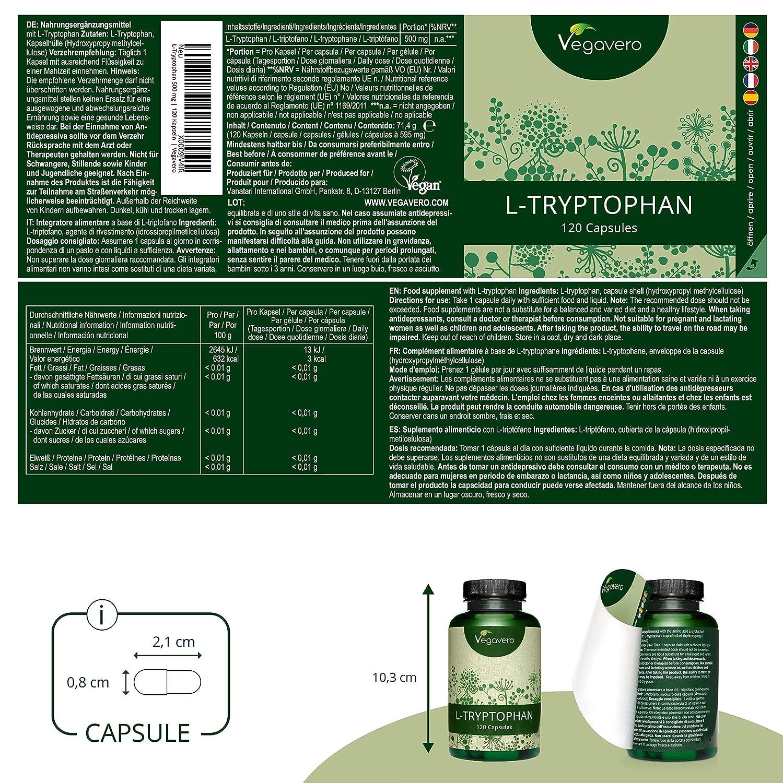 L-Triptófano Vegavero® | EL ÚNICO 99.5% PURO | SIN ADITIVOS | Ansiedad + Estrés + Insomnio | 500mg | 120 Cápsulas | Precursor de 5-HTP, Serotonina, ...