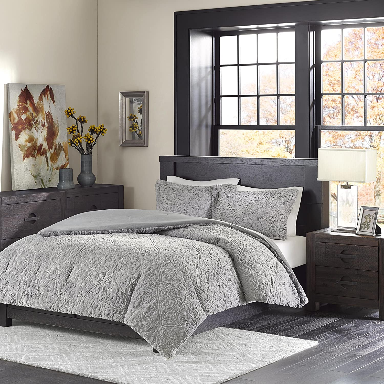 grey set twin style fur faux xl sets casual medallion piece comforters c and comforter bedding