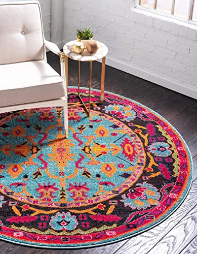 Unique Loom Medici Collection Abstract Botanical Vibrant Colors Light Blue Round Rug 6 0 x 6 0