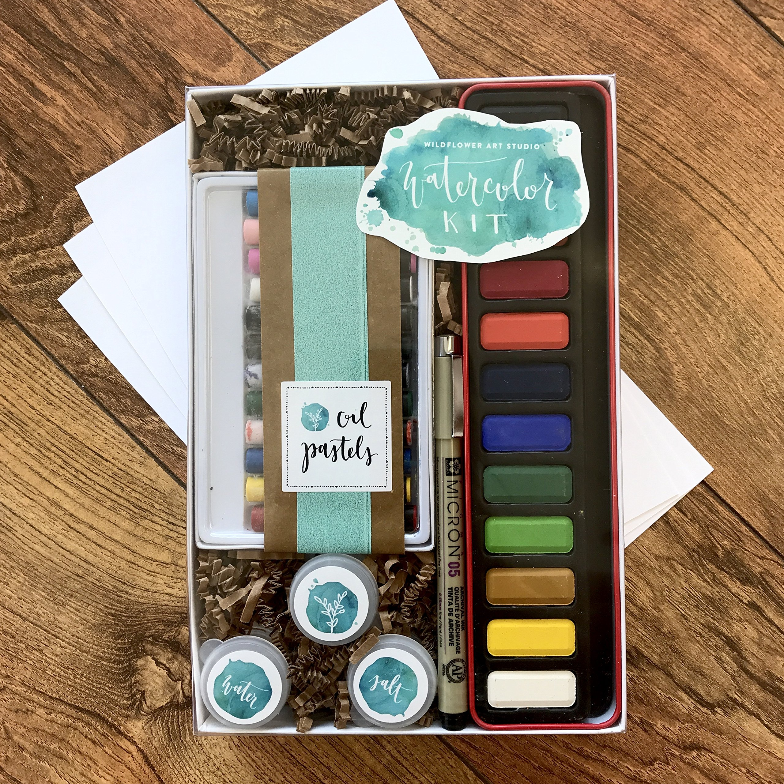 DIY Watercolor Kit for Beginners - Includes Project Guides & Detailed Instructions - Wildflower Art Studio's Signature ''Watercolor Class in a Box''